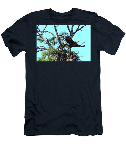 Men's T-Shirt (Slim Fit) featuring the photograph Eagle Series The Nest by Deborah Benoit