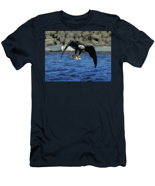 Men's T-Shirt (Slim Fit) featuring the photograph Eagle With Fish Flying by Coby Cooper