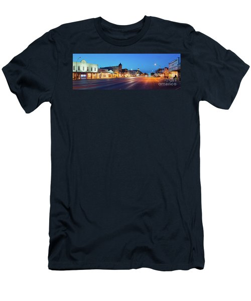 Early Morning Panorama Of Fredericksburg Main Street - Gillespie County Texas Hill Country Men's T-Shirt (Athletic Fit)