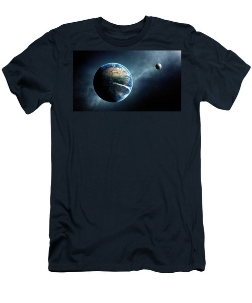 Earth And Moon Space View Men's T-Shirt (Athletic Fit)