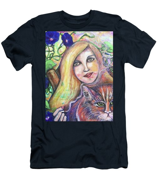 Men's T-Shirt (Slim Fit) featuring the painting Eazybreezylazy Sunday by Rae Chichilnitsky