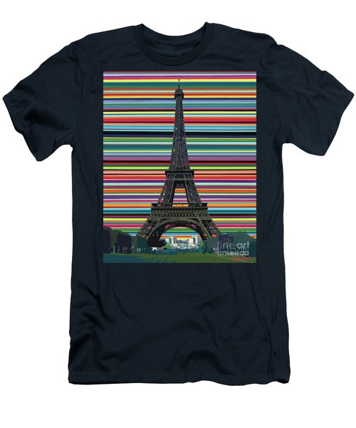 Men's T-Shirt (Athletic Fit) featuring the painting Eiffel Tower With Lines by Carla Bank