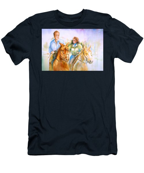 Men's T-Shirt (Slim Fit) featuring the painting Eleanor And George by Patricia Schneider Mitchell