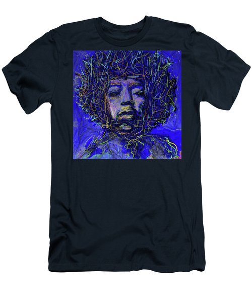 Men's T-Shirt (Athletic Fit) featuring the mixed media Electrifying Hendrix by Eduardo Tavares