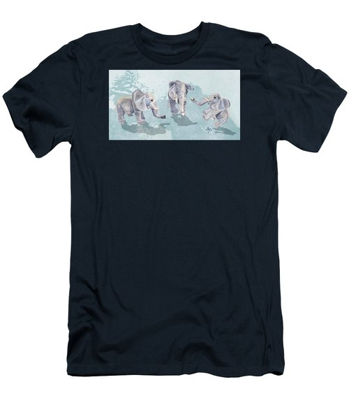 Elephants In Blue Men's T-Shirt (Athletic Fit)