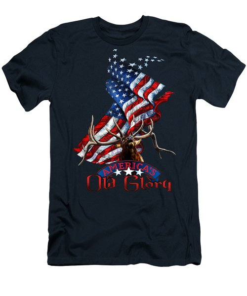 Elk Old Glory Men's T-Shirt (Athletic Fit)