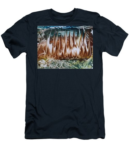 Encaustic Abstract Brown Blue-green Men's T-Shirt (Athletic Fit)