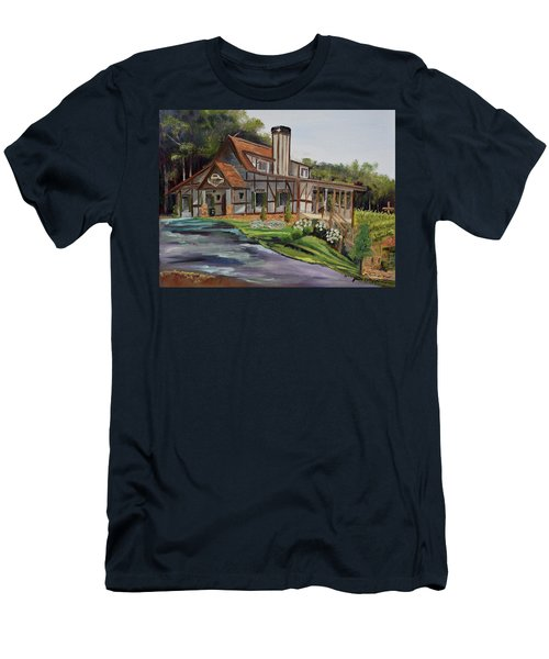Men's T-Shirt (Athletic Fit) featuring the painting Engelheim In The Morning - Vineyard - Ellijay, Ga by Jan Dappen