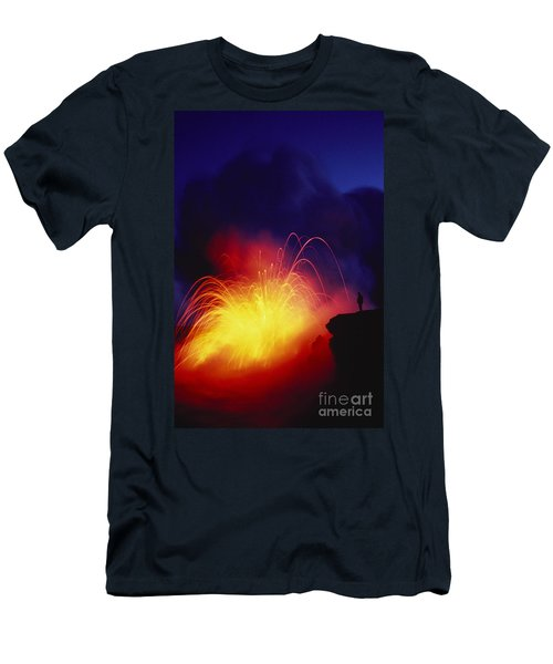 Exploding Lava And Person Men's T-Shirt (Slim Fit) by Greg Vaughn - Printscapes