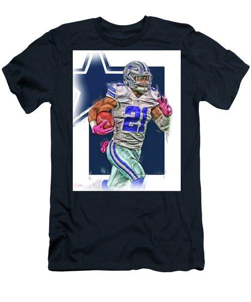 Ezekiel Elliotte Dallas Cowboys Oil Art Men's T-Shirt (Athletic Fit)
