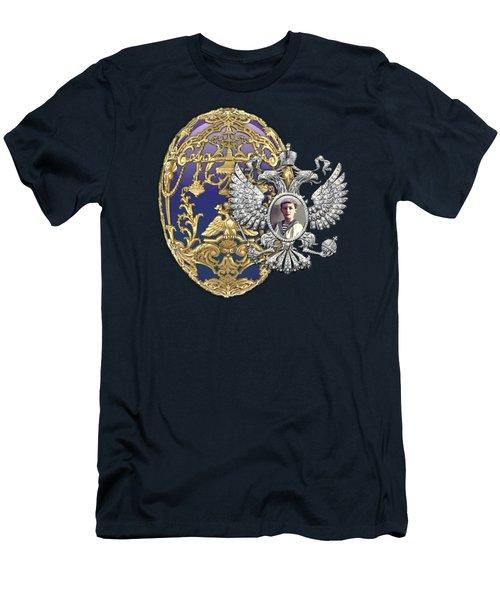 Faberge Tsarevich Egg With Surprise On Blue Velvet Men's T-Shirt (Athletic Fit)