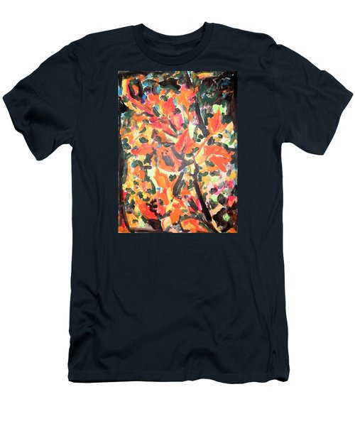 Fall Forest In Red And Black Men's T-Shirt (Slim Fit) by Esther Newman-Cohen
