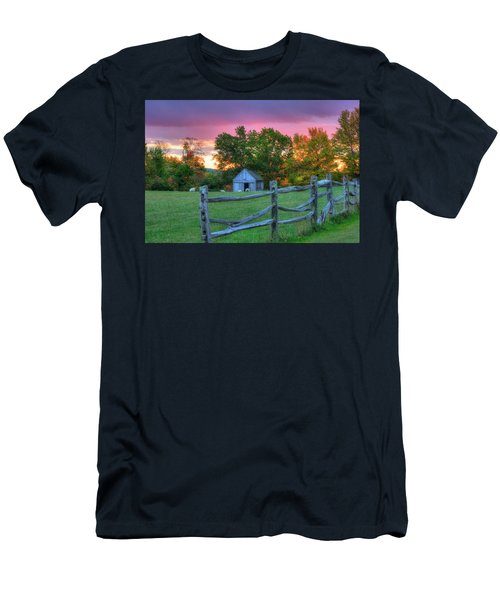 Men's T-Shirt (Athletic Fit) featuring the photograph Farm Sunset In Autumn - Hollis Nh by Joann Vitali