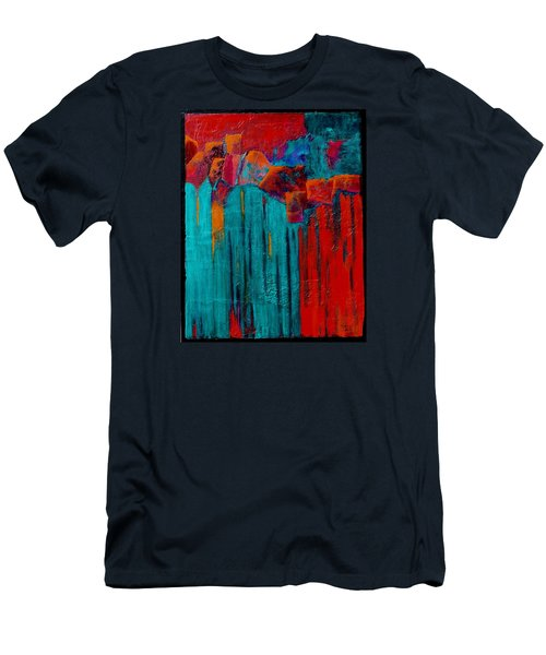 Men's T-Shirt (Slim Fit) featuring the painting Waterfall by Nancy Jolley