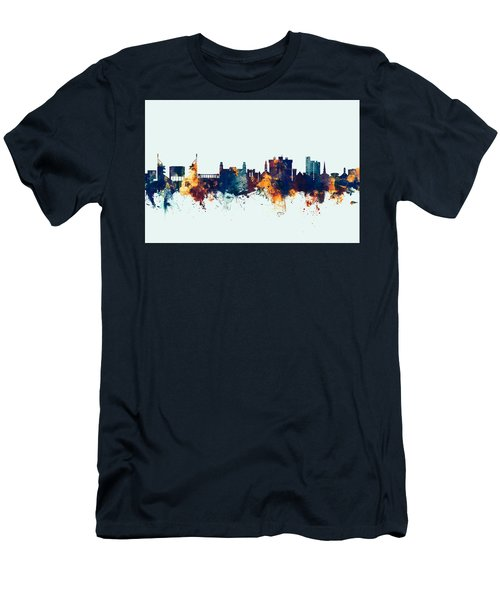 Men's T-Shirt (Slim Fit) featuring the digital art Fayetteville Arkansas Skyline by Michael Tompsett