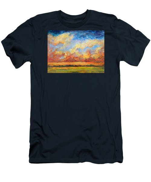 Men's T-Shirt (Slim Fit) featuring the painting Feathered Sky by Mary Schiros