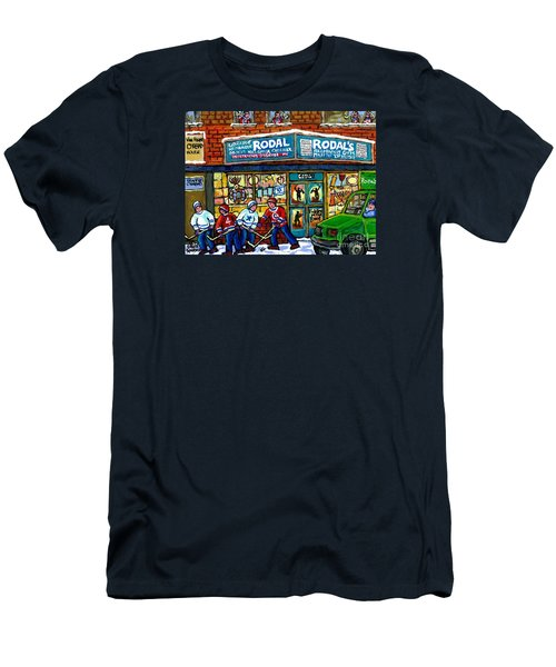 Fiddler On The Roof Painting Canadian Art Jewish Montreal Memories Rodal Gift Shop Van Horne Hockey  Men's T-Shirt (Slim Fit) by Carole Spandau