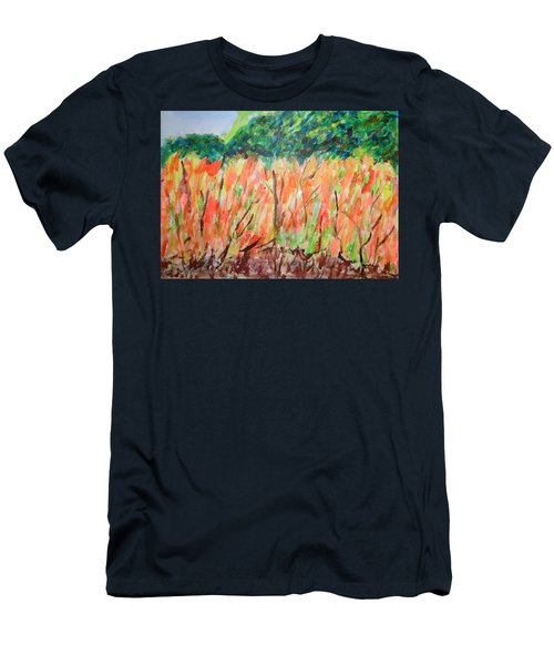 Men's T-Shirt (Slim Fit) featuring the painting Fiery Bushes by Esther Newman-Cohen