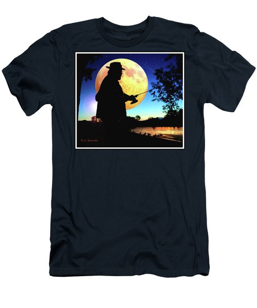 Fisherman In The Moolight Men's T-Shirt (Athletic Fit)