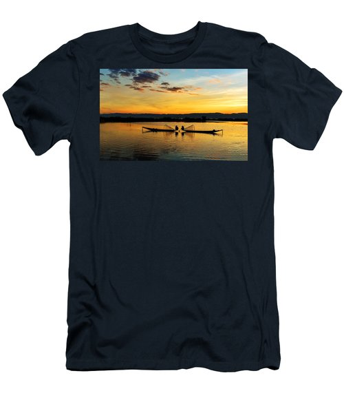 Fisherman On Their Boat Men's T-Shirt (Athletic Fit)