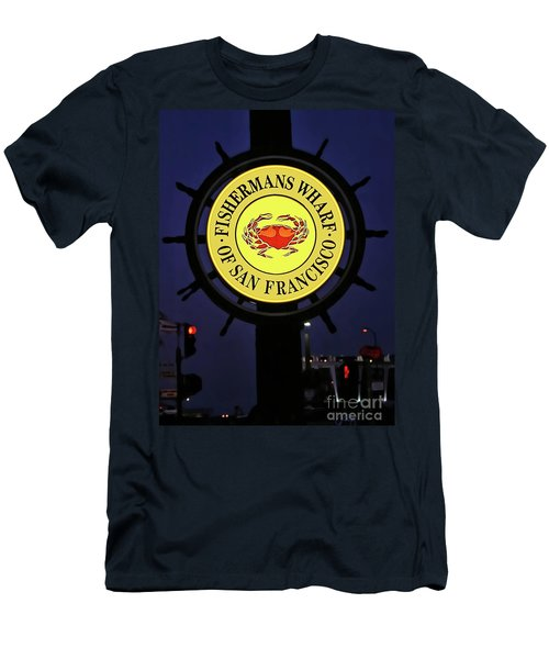Fishermans Wharf Sign At Night Men's T-Shirt (Athletic Fit)