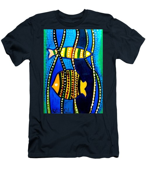 Men's T-Shirt (Slim Fit) featuring the painting Fishes With Seaweed - Art By Dora Hathazi Mendes by Dora Hathazi Mendes