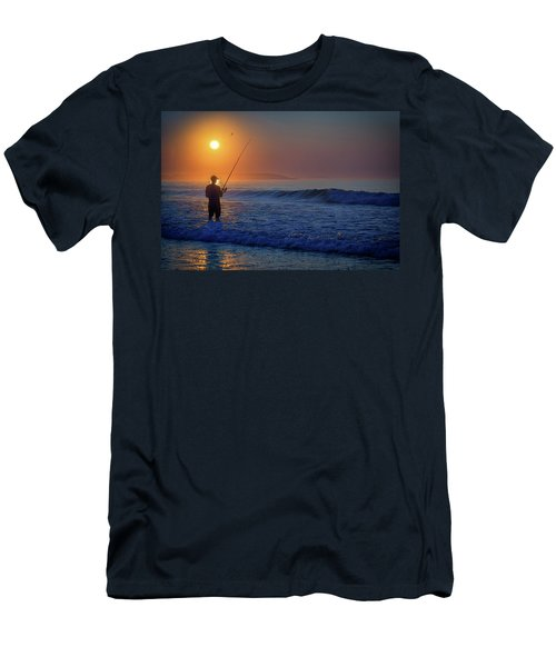 Men's T-Shirt (Athletic Fit) featuring the photograph Fishing At Sunrise by Rick Berk