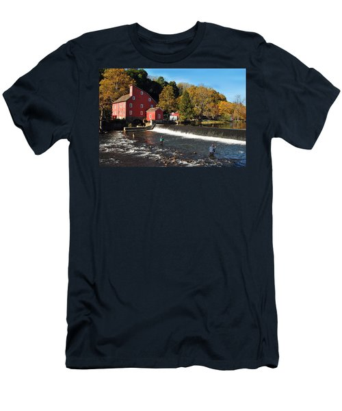 Fishing At The Old Mill Men's T-Shirt (Slim Fit) by Lori Tambakis