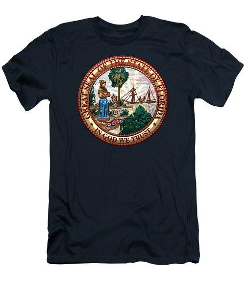 Florida State Seal Over Blue Velvet Men's T-Shirt (Athletic Fit)
