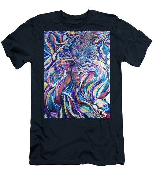 Men's T-Shirt (Slim Fit) featuring the painting Flowering by Dawn Fisher