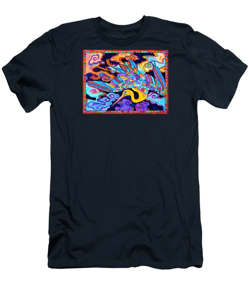 Men's T-Shirt (Slim Fit) featuring the painting Flying Crane by Lori Miller