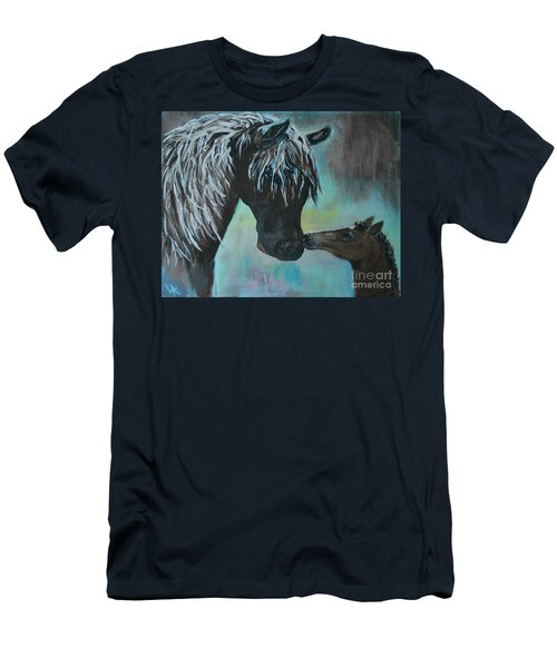 Men's T-Shirt (Slim Fit) featuring the painting Foal Kiss by Leslie Allen
