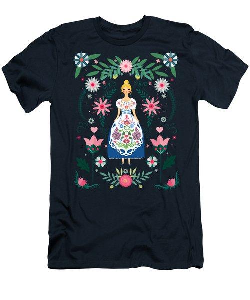 Folk Art Forest Fairy Tale Fraulein Men's T-Shirt (Athletic Fit)