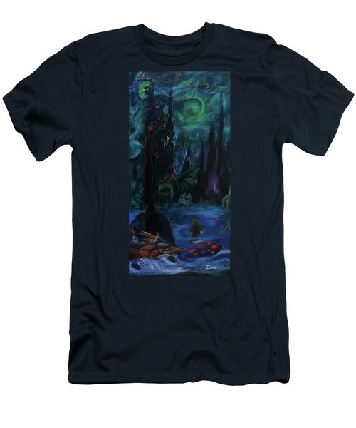 Men's T-Shirt (Slim Fit) featuring the painting Forbidden Forest by Christophe Ennis