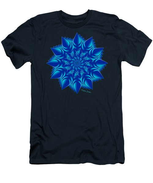 Fractal Flower In Blue Men's T-Shirt (Athletic Fit)