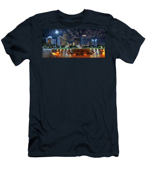 Full Moon Over Bayfront Park In Downtown Miami Men's T-Shirt (Athletic Fit)