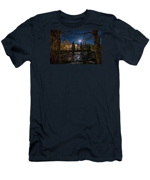 Full Moon Over Breckenridge Men's T-Shirt (Slim Fit) by Michael J Bauer