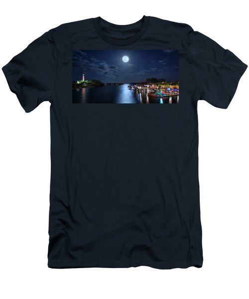Full Moon Over Jupiter Lighthouse And Inlet In Florida Men's T-Shirt (Athletic Fit)
