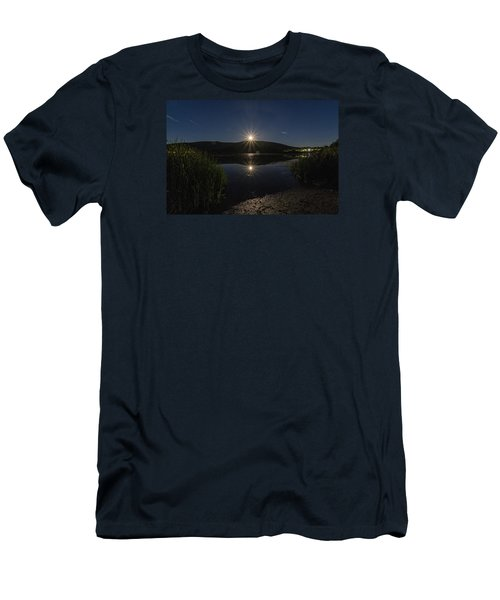 Men's T-Shirt (Slim Fit) featuring the photograph Full Moon Retreat Meadows by Tom Singleton