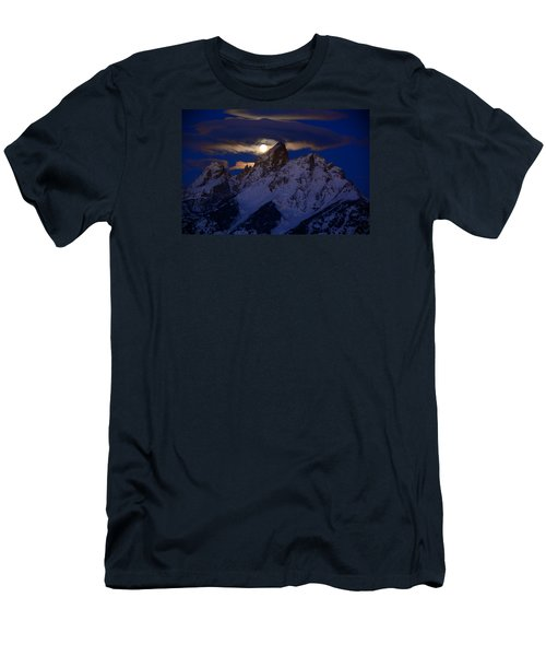Full Moon Sets Over The Grand Teton Men's T-Shirt (Slim Fit) by Raymond Salani III