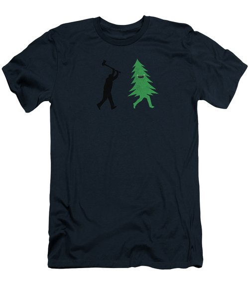 Funny Cartoon Christmas Tree Is Chased By Lumberjack Run Forrest Run Men's T-Shirt (Slim Fit) by Philipp Rietz