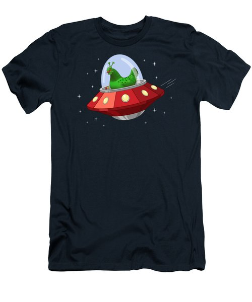 Funny Green Alien Martian Chicken In Flying Saucer Men's T-Shirt (Athletic Fit)