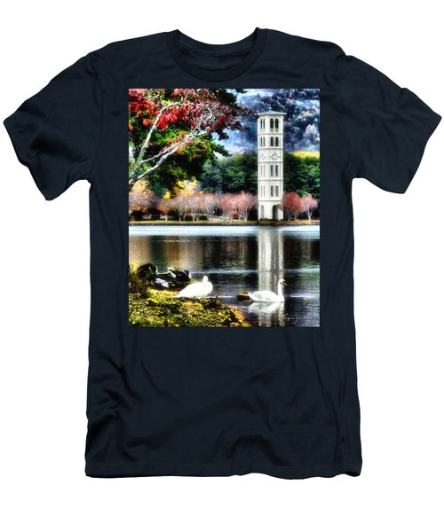 Men's T-Shirt (Slim Fit) featuring the painting Furman University Bell Tower by Lynne Jenkins