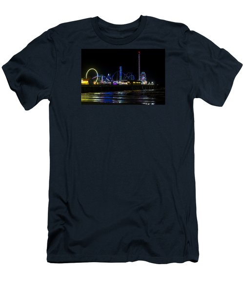 Galveston Island Historic Pleasure Pier At Night Men's T-Shirt (Athletic Fit)