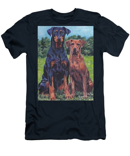 Men's T-Shirt (Slim Fit) featuring the painting German Pinschers by Lee Ann Shepard