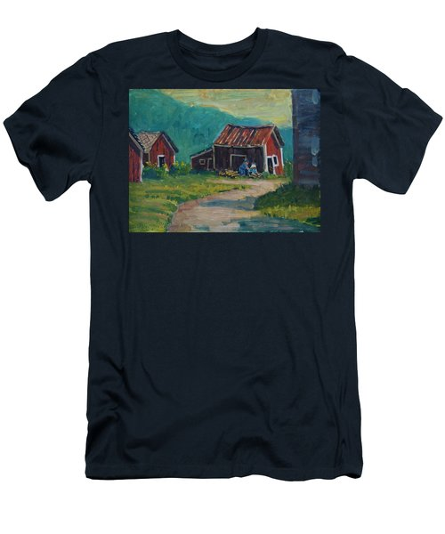 Men's T-Shirt (Slim Fit) featuring the painting Getting Ready For Winter by Len Stomski