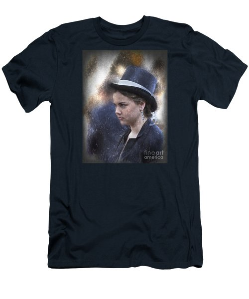 Men's T-Shirt (Slim Fit) featuring the photograph Girl In A Dark Blue Hat by Elaine Teague
