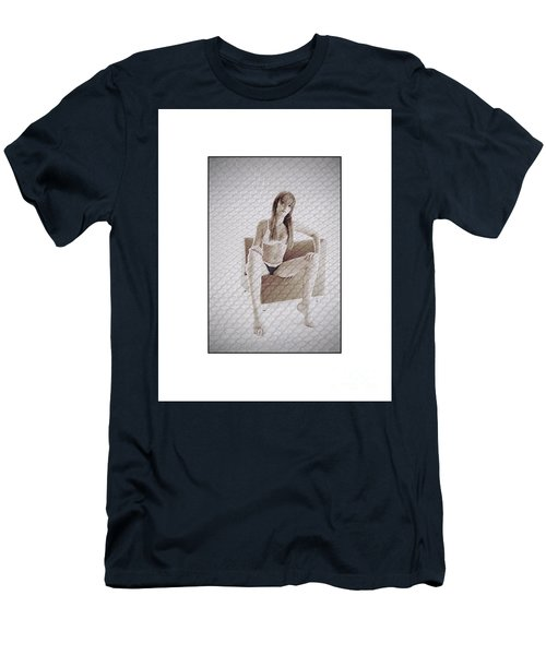 Girl In Underwear Sitting On A Chair Men's T-Shirt (Slim Fit) by Michael Edwards