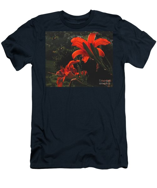 Men's T-Shirt (Slim Fit) featuring the photograph Glowing Day Lilies by Donna Brown