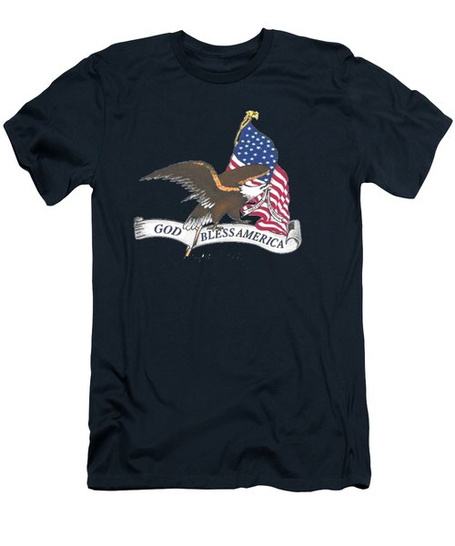 God Bless America  Men's T-Shirt (Slim Fit) by Herb Strobino